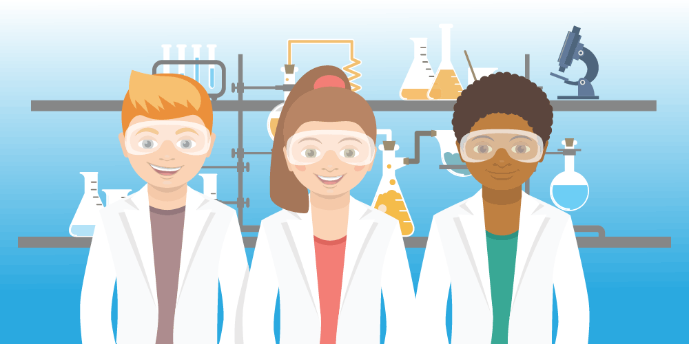 Illustration of Students in the lab.