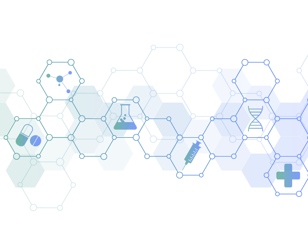 Illustration of connected hexagons containing medical icons.
