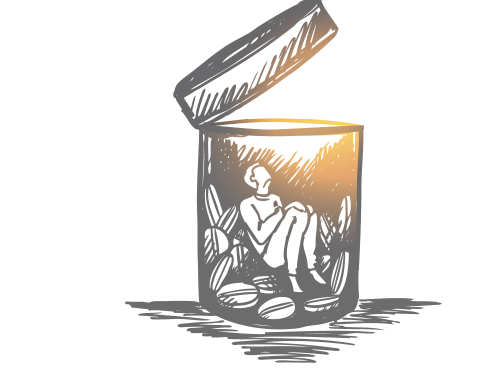 Illustration, man in open pill bottle looking up towards glowing light