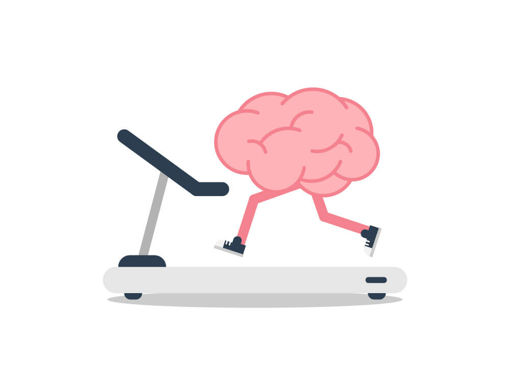 Brain running on treadmill.