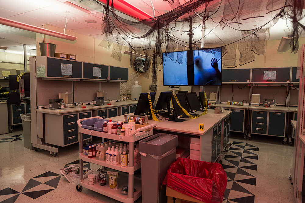 Student lab decorated for the zombie apocalypse.