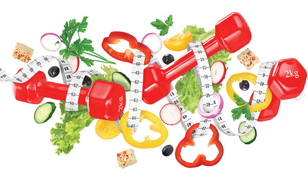 Measuring tape spiraling around vegetables and hand weights.