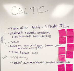 Whiteboard with bullet points about Celtic death rituals.