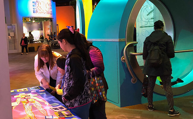 View of various interactive exhibits at Discovery Place.