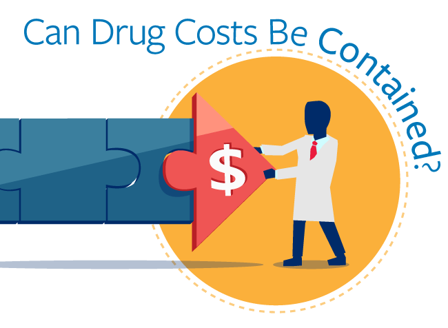 "Illustration: White coat holding back increasing costs ""Can Drug Costs be Contained."""