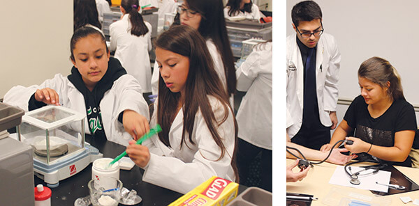 Students doing lab experiments to learn about pharmacy professions.